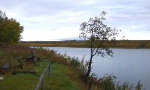 View of a camp along the Koyukuk River