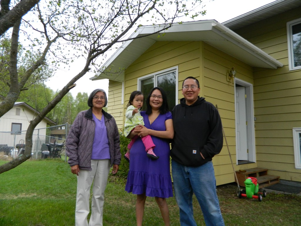 The Pilot family are temporarily staying in Eagle River. Left-right: Ragine, Laina, Kimberly and William. Photo by Angela Gonzalez