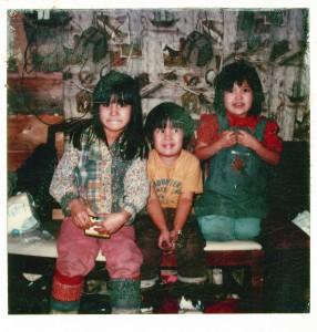 Angie (7), Al Jr. (5) and Tanya (6) in Huslia in the early 80s. Photo taken in Huslia by Eleanor Yatlin