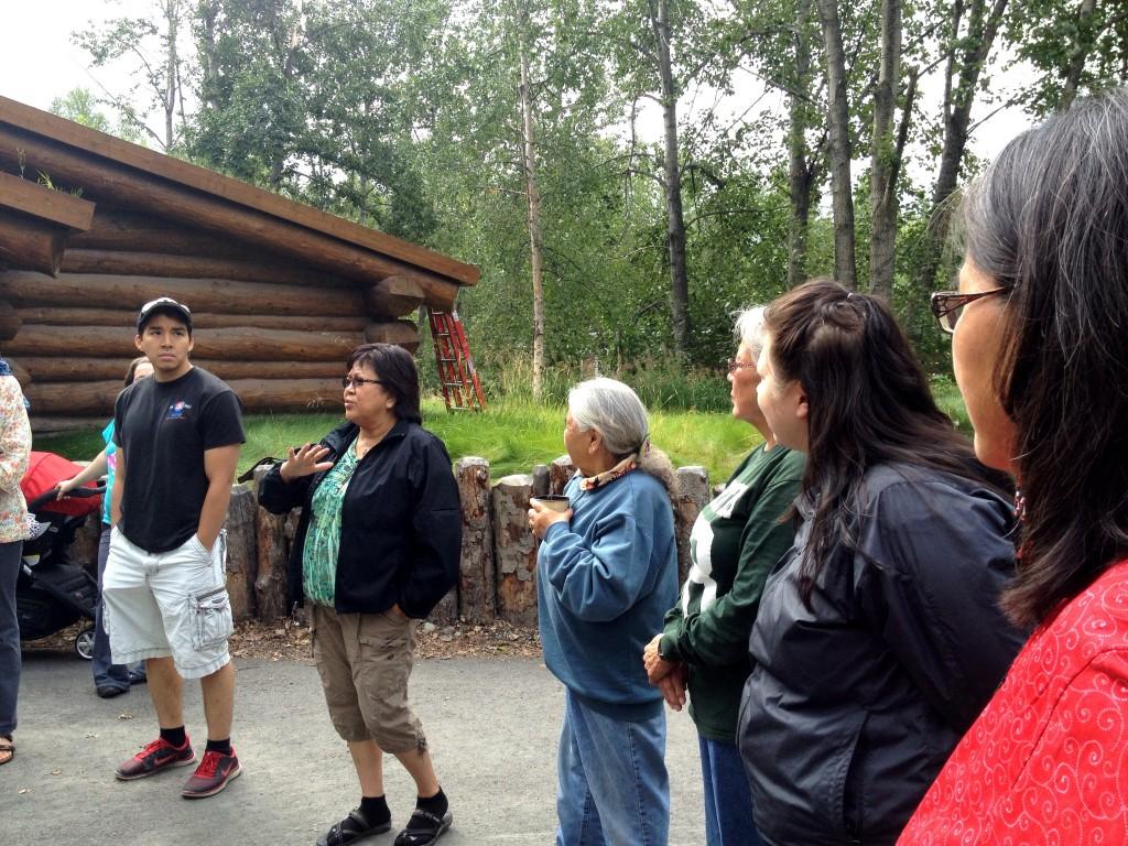 Esther McCarty teaches students a Denaakk'e song. Photo by Angela Gonzalez