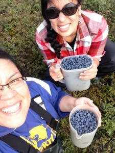 Agatha and her friend, Tiffany Zulkosky, picking berries in Bethel. Tiffany was the former Rural Director for Senator Mark Begich. Courtesy photo