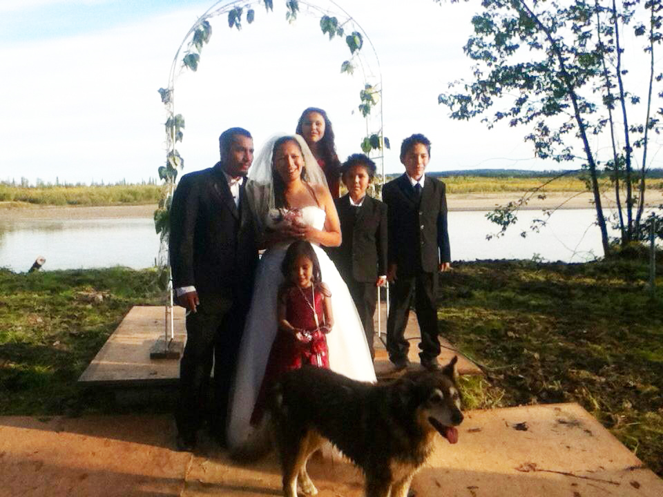 Russ and Michelle were married in Old Alatna with their children as witnesses. Photo by Tanya Yatlin