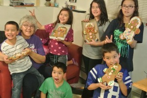 Josephine Semaken enjoyed making gingerbread men with her grandchildren in Anchorage. Courtesy photo