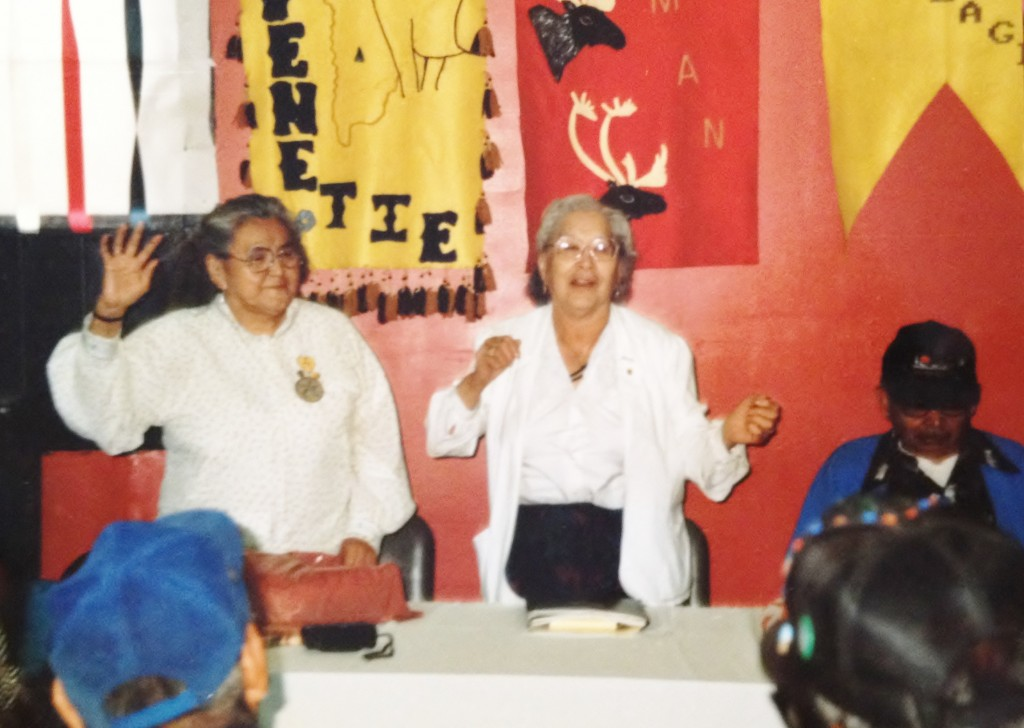 Elder ladies sing an Athabascan song at the Denakkanaaga Conference in Tanacross in 1991. Photo by Angela Gonzalez