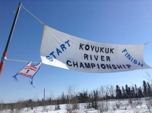 The start and finish line of the Koyukuk River Championship dog races. Photo by Danielle Ballard Huffman