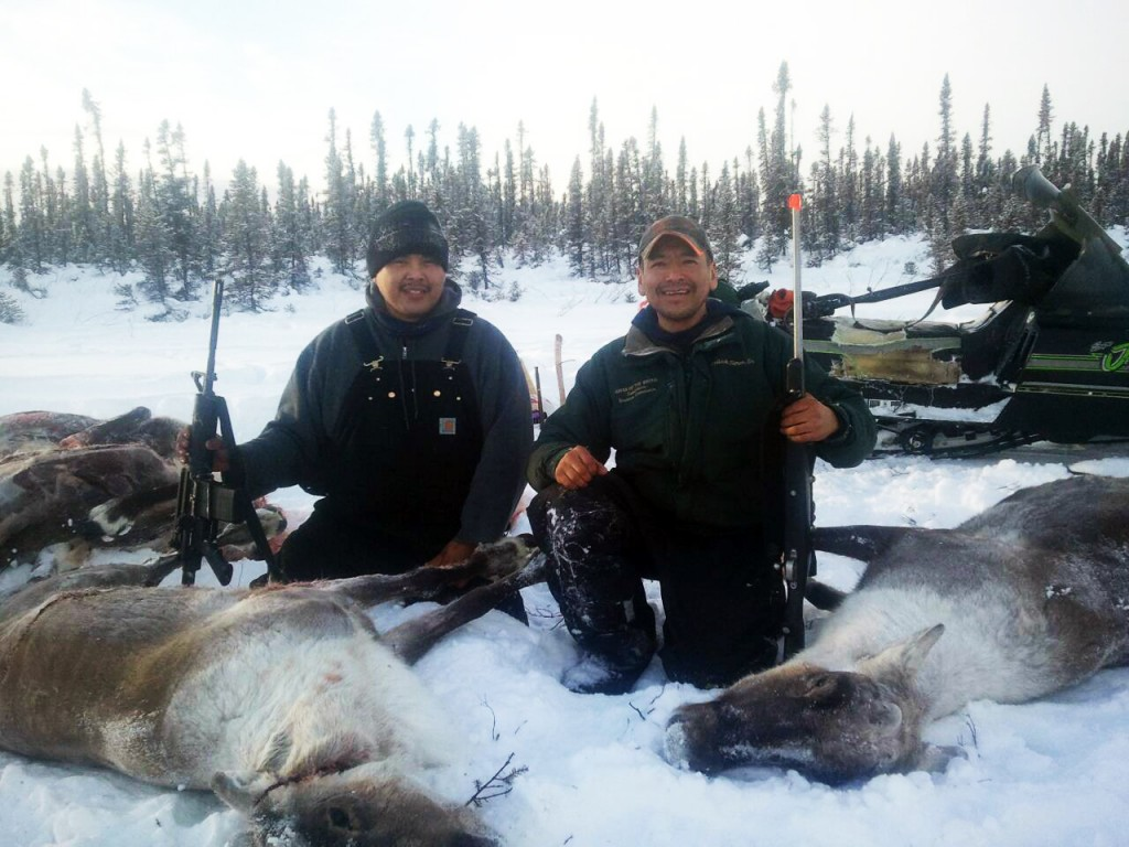 """Todd Bergman and PJ Simon on a caribou hunt. PJ says, """"Our lifestyle in Allakaket is very traditional, we love our traditional foods. """" Courtesy photo"""