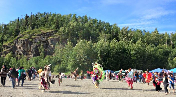 Powwow dancers on the last day of the 2014 Eklutna Potlatch/Powwow. Photo by Angela Gonzalez