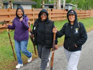 The Tetlin ladies with million dollar smiles. L-R: Diane John, Debbie Titus and Pamela Sam. Photo by Angela Gonzalez