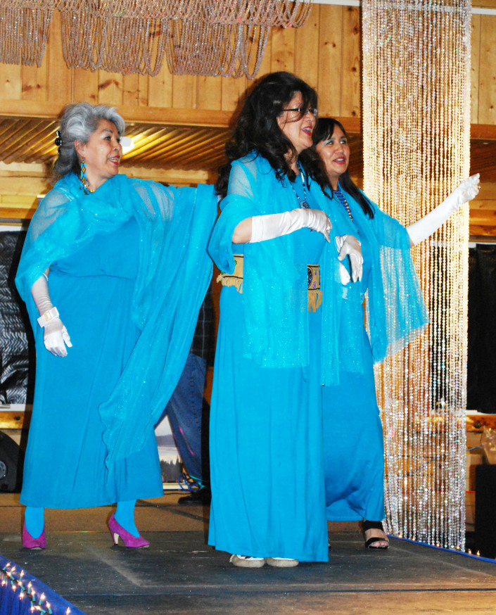 Athabascan Supremes on stage at the Rural Providers' Conference Talent Show in Fairbanks. Photo by Joie Brown