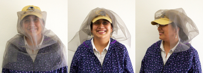 Sewing mosquito net material on a cap is a great way to keep the bugs out of your face and neck. Here is one I made a few years ago.