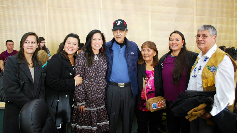 Gwich'in Athabascan speakers celebrate at the Alaska Native language bill signing. Photo by Angela Gonzalez