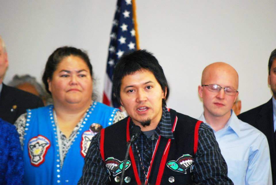 Lance (X̱'unei) Twitchell speaks at the signing of the Alaska Native language HB 216. Photo by Angela Gonzalez
