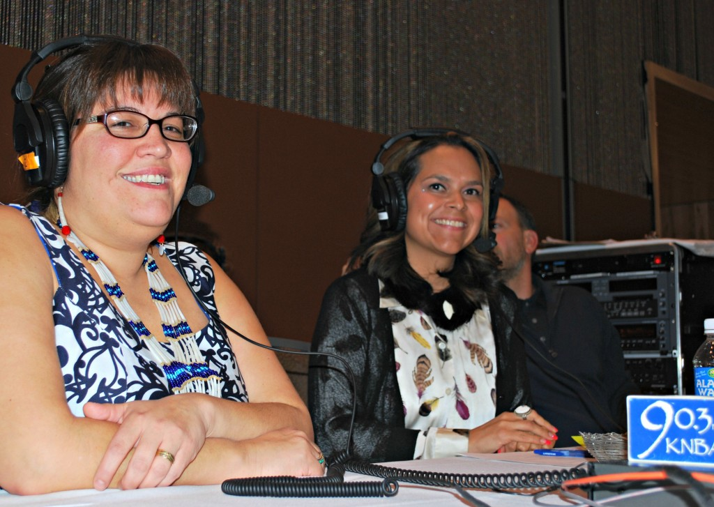 Shyanne Beatty and Antonia Gonzales are behind the scenes for Koahnic Broadcast Corporation. Photo by Angela Gonzalez