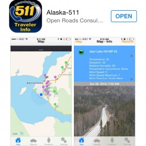 Download the Alaska 511 App for up-to-date info as you drive around Alaska.
