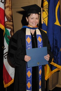 Jessica Bissett Perea at her 2011 commencement. Her beaded stole was made by her mother-in-law, Barbara Perea, and was also worn by her father-in-law, Jacob Perea, and husband, John-Carlos at their PhD graduations. Courtesy photo