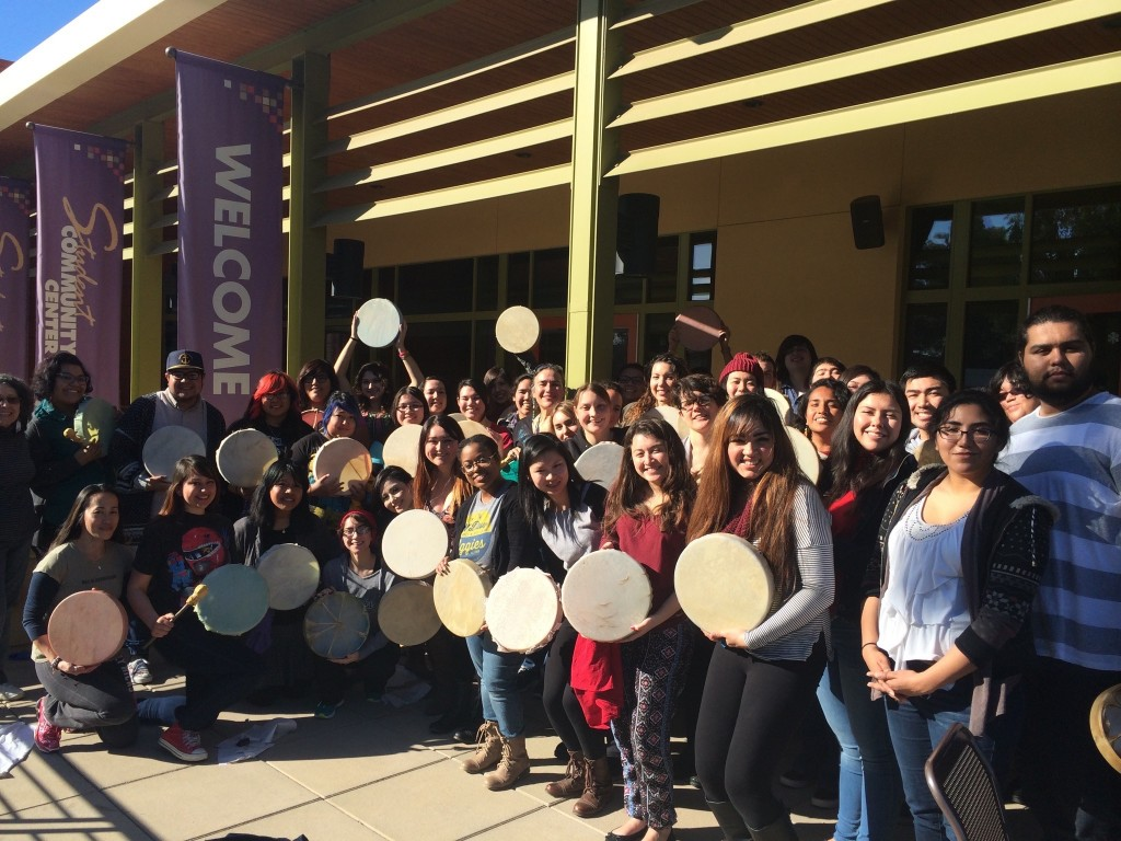 """Jessica Bissett Parea's """"Native American Music and Dance"""" students with hand drums they made in a workshop with Maggie Steele. Courtesy photo"""