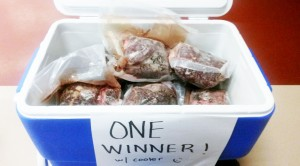 A cooler full of subsistence foods was a hit at a fundraiser in Fairbanks. Photo by Robin Renfroe