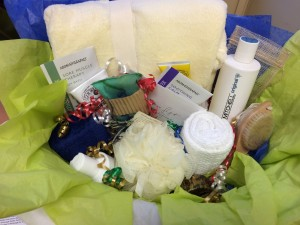 Here is an example of a spa gift basket prepared by Janet Hall. Photo by Angela Gonzalez