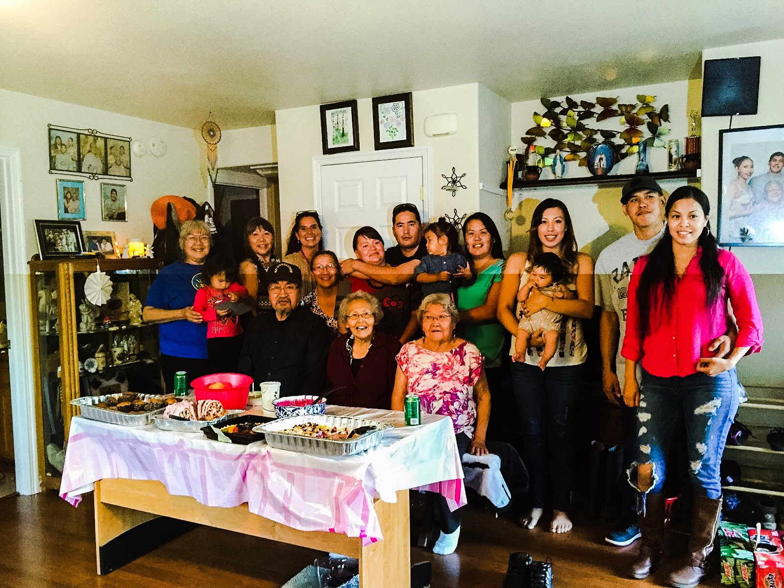 Mary St. Martin-Charles's birth family gather for dinner in Koyukuk. Courtesy photo