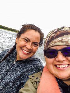 Vivian Henry and Shandara Swatling on the Koyukuk River. Photo courtesy of Shandara Swatling.